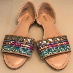 Colorful Open Flats with Closed Heel